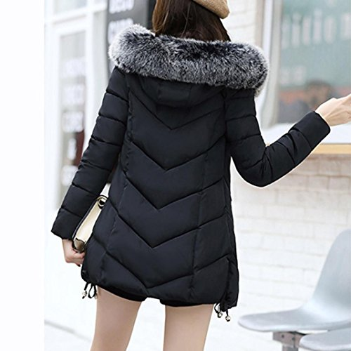 Parka de Plumas mujer KaloryWee de abrigo Para Mujer delgado de A2 cálido Chaqueta negro invierno Abrigo HwqRwg
