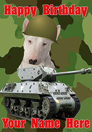 Bull Terrier perro J32 tanque del ejército militar Fun Cute ...