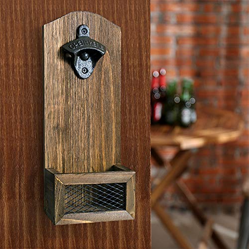 INART Vintage Wall Mounted Wooden Bottle Opener with Cap Catcher, Ideal Gift for Men and Beer Lovers -