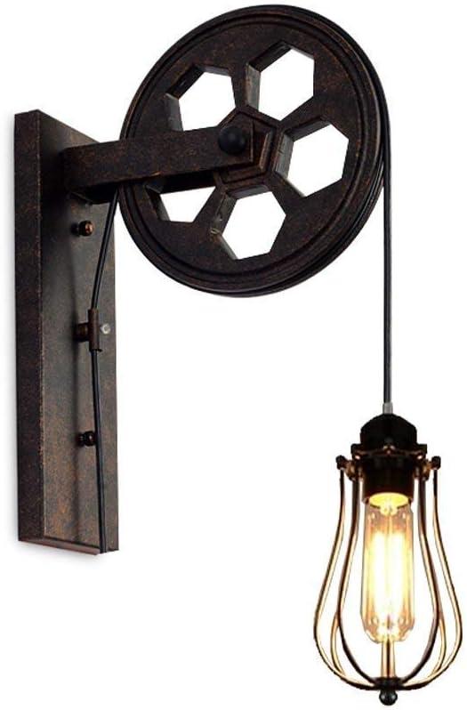 Imagen deAZCX Vintage Loft Industrial Pared Montaje luz-polea Pared lámpara de Pared con Jaula de hierro-E27 Bombilla-Restaurante, Pasillo, Pubs Club