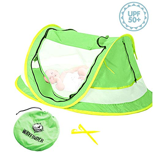 Baby Nap Crib - Wayfinder TravelTot, Baby Travel Tent Portable Baby Travel Bed Indoor & Outdoor Travel Crib Baby Beach Tent UPF 50+ UV Protection w/Mosquito Net and 2 Pegs (Green/Yellow)