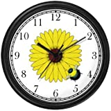 Bee on Black Eyed Susan Flower - Bee or Bumblebee - JP Wall Clock by WatchBuddy Timepieces (White Frame)