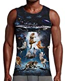 NEWISTAR Mens Gym Top 3D Galaxy Catch Cat Graphic Printed Designer Sport and Casual Tank Top Tshirts