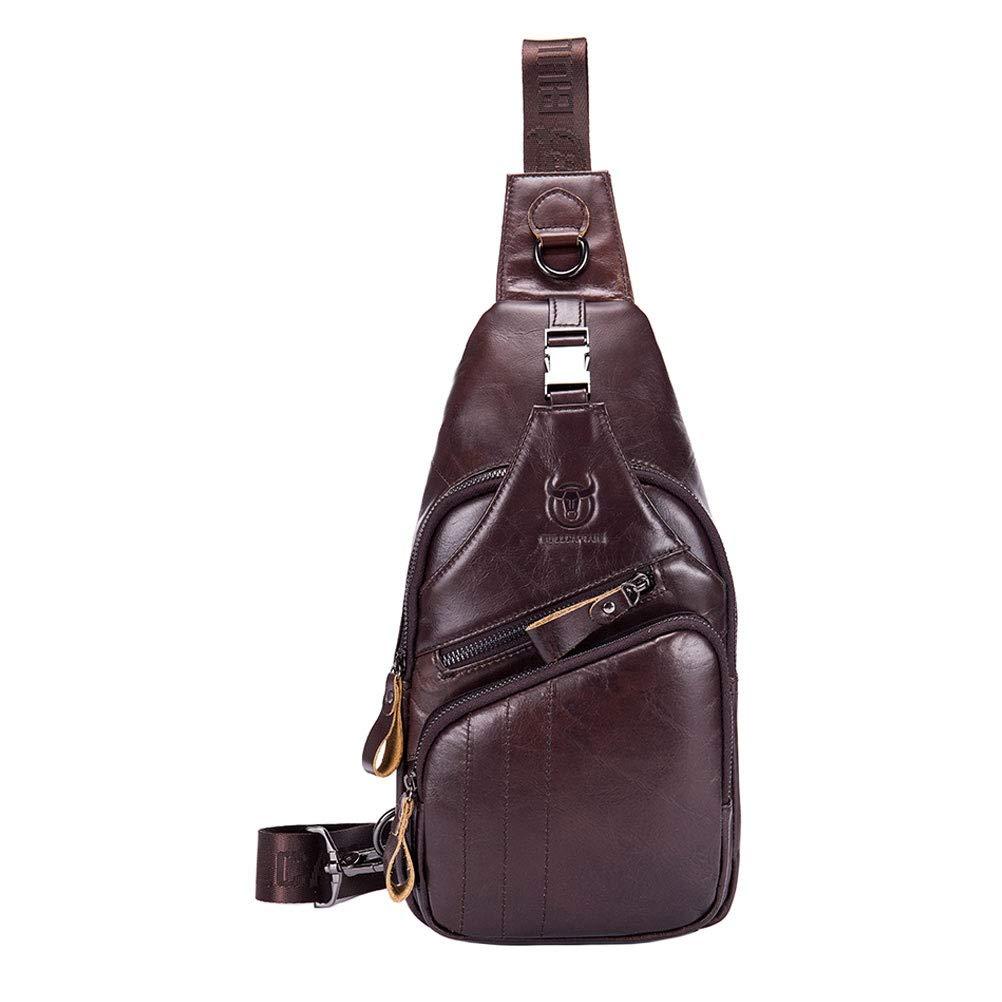 GTTUKO Mens Sling Bag Genuine Leather Daypack Shoulder Bag Messenger Bag Water Resistant Anti-Theft Business Casual Sport Hiking Travel