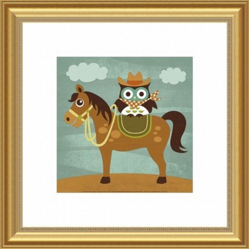 Printfinders Wall Decor, Cowboy Owl on Horse by Barewalls
