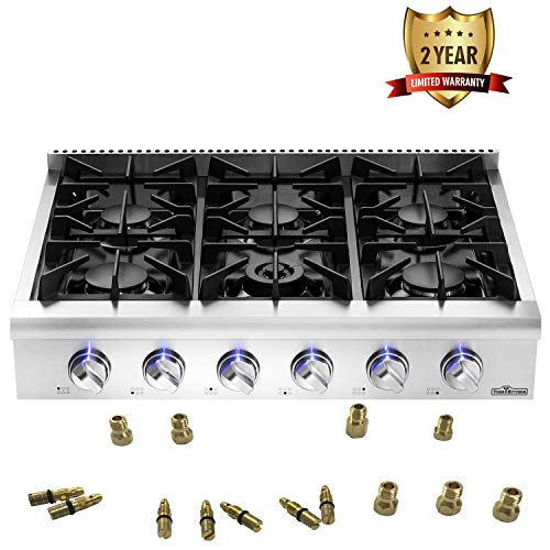 (Thor Kitchen Silver 36'' Pro-Style Gas Range Rangetop Cover Gas Stove Top Cooker Cooktop with 6 Burners - 2-Years-Warranty - with LP Conversion Kit)
