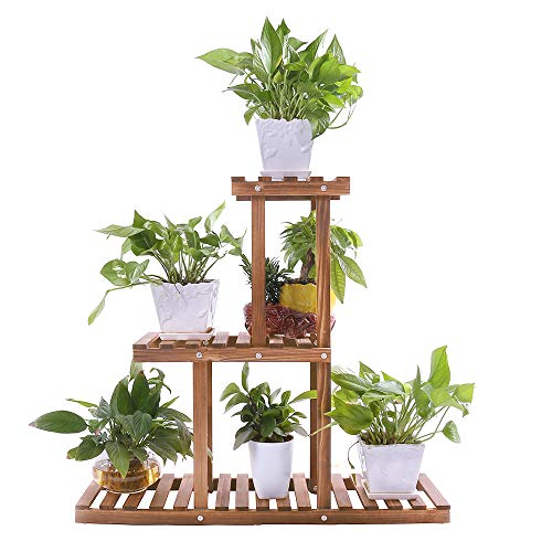 Outdoor Plant Stand - Ufine Wood Plant Stand Indoor Outdoor 3 Tier Vertical Carbonized Multiple Planter Holder Flower Ladder Stair Shelf Garden Balcony Patio Corner Pot Display Storage Rack