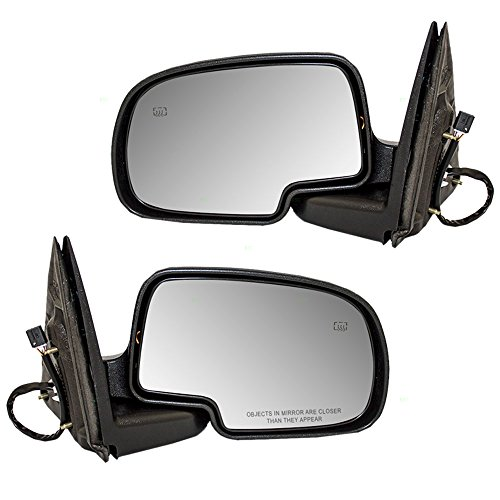 Driver and Passenger Power Side View Mirrors Heated w/Gloss Caps Replacement for Cadillac Chevrolet GMC Pickup Truck 15179829 15179830