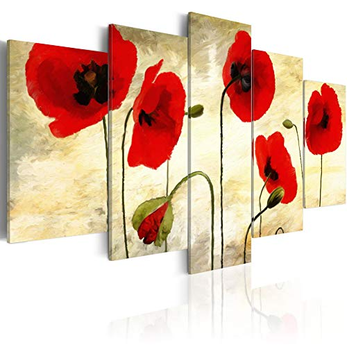 - 5 Panels Poppies Wall Art Red Flower Painting on Canvas Elegant Floral Artwork Modern Picture Print for Living Room