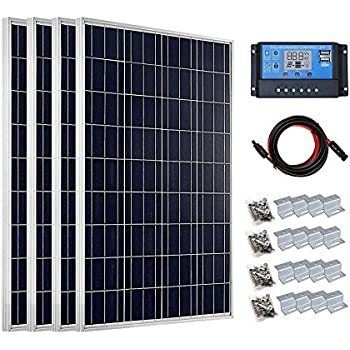 ECO-WORTHY 400 Watt Solar Panel Starter Kit Polycrystalline with 20A PWM LCD Charge Controller Off Grid for Home Boat