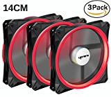 led pc fan 140 - upHere Halo Ring Led 140mm case fan 3 PACK Hydraulic Bearing quiet cooling case fan for computer MIRAGE Color LED fan 3 pin with Anti Vibration Rubber Pads(Red) 14CMR3-3