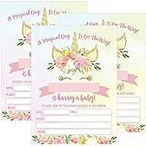 25 Pink Blush Gold Girl Unicorn Baby Shower Invitations...