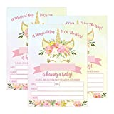 25 Pink Blush Gold Girl Unicorn Baby Shower Invitations, Cute Floral Printed Fill or Write In The Blank Invite, Flower Shabby Chic Unique Custom Vintage Coed Party Card Stock Paper Supplies Decoration