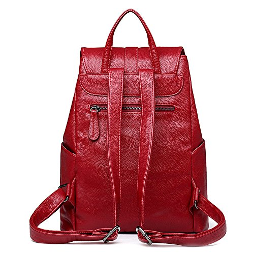 Style Simple function Fashion Shoulder Multi Travel Bag Backpack Red College Zipper Casual Ladies qgtww