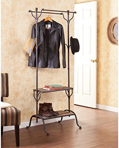 Southern Enterprises Entryway Hall Tree – 2 Tier Shelves – Distressed Wood Raw Metal Frame Finish
