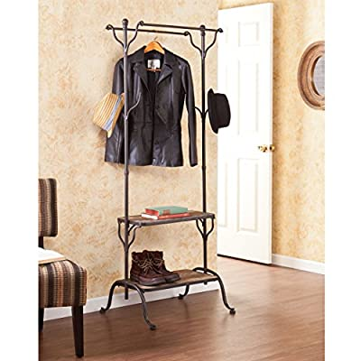 """Southern Enterprises Entryway Hall Tree - 2 Tier Shelves - Distressed Wood & Raw Metal Frame Finish - All-in-one grab-and-go storage center Refined industrial style; Distressed fir and raw metal; Distressed, aged finish will vary piece to piece for authentic feel Shelves: 23"""" W x 12.25"""" D x 14.25"""" H (bottom), 23"""" W x 10.25"""" D x 41.5"""" H (top); Hanging bars: 23"""" W x 5"""" D x 67"""" H (depth from center); hooks: 1"""" W x 5"""" D x 5.25"""" H; Under hall tree: 22.5"""" W x 20.75"""" D x 7.5"""" H - hall-trees, entryway-furniture-decor, entryway-laundry-room - 510SJisIPwL. SS400  -"""