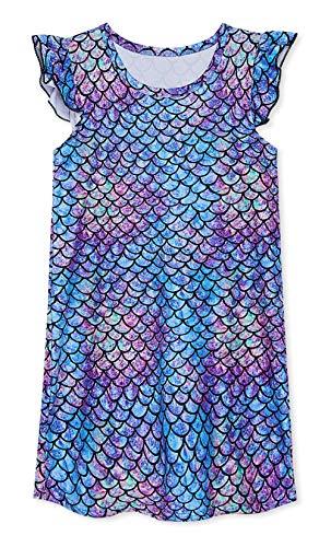 (UNIFACO Nightgowns for Girls Dark Mermaid Printed Fish Scale Pajamas Flutter Sleeve Night Dress)