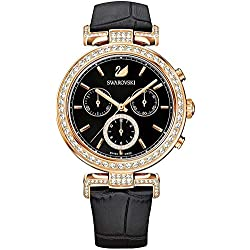 SWAROVSKI Women's Women's Era Journey Rose Gold Japanese Quartz Watch with Leather Strap, Black