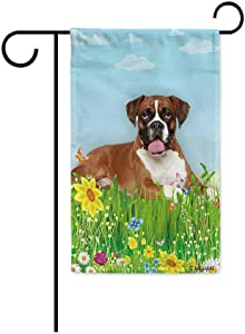 BAGEYOU Hello Spring Floral with My Love Dog Boxer Dog Garden Flag Summer Flower Home Decor Yard Banner for Outside 12.5 x 18 Inch Printed Double Sided