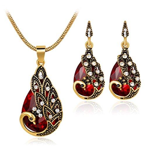 - sameno Women Zircon Retro Peacock Necklace Earrings Wedding Party Bridal Jewelry (Red)