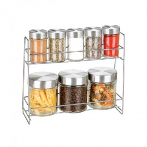 Kole OL123 Glass Canister Spice Jar Set, Regular