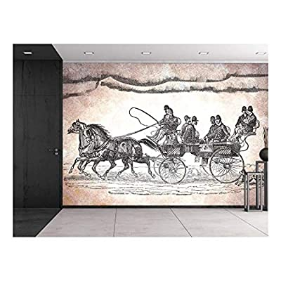 Fascinating Portrait, Engraved Illustration Horse Team Pulling cart with 6 Passengers and Dog Chasing Etching Style Black and White Wall Mural, Professional Creation