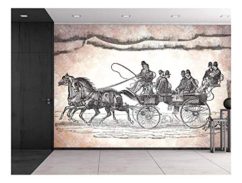 Engraved Illustration Horse Team Pulling cart with 6 Passengers and Dog Chasing Etching Style Black and White Wall Mural