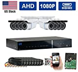 GW Security New AHD 8CH 1080P DVR Video Surveillance Camera System 8 1080P 2.1 Megapixel Outdoor 34 IR LEDs 100ft Weatherproof Night Vision Bullet Security Camera