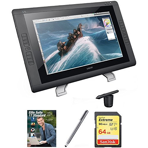 Wacom Cintiq 22HD - 22 '' HD, wide-format Interactive Pen Display with Grip Pen (DTK2200) with Corel Complete PC Office Suite 5, Bamboo Solo Stylus for Tablets and Smartphones & 64GB Memory Card by Wacom (Image #5)