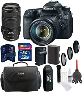 Canon EOS 70D Digital SLR Camera + 18-135mm STM Lens + 70-300mm IS USM Lens + 32GB Card + Reader + Battery and Charger + Case + Filters + Accessory Kit