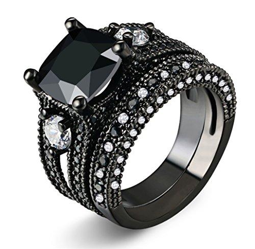 ZHENYUL Women Retro Gothic 18k Black Gold Princess Wedding Bridal Engagement Promise Ring Jewelry Set