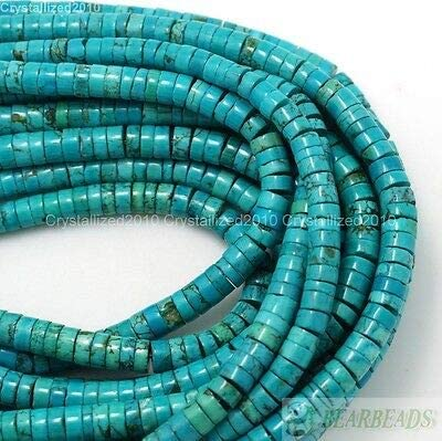 120 beads Xinjiang Chinese Color Enhanced Turquoise 10mmx3.5mm Heishi Bead 15.5 Strand