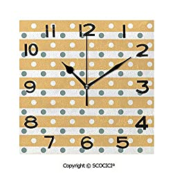 SCOCICI Square Wall Clock Horizontal Bold Stripes with Polka Dots Old Fashioned Tile 8 inch Morden Wall Clocks Silent Square Decorative Clock