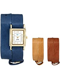 Women's LMGB001 Gold-Tone Watch with Three Interchangeable Leather Wrap Bands