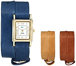 La Mer Collections Women's LMGB001 Gold-Tone Watch with Three Interchangeable Leather Wrap Bands