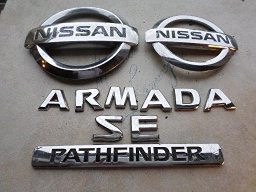 - 04-09 Nissan Pathfinder Armanda Se Front Grille 6Z890-7S000 Logo Tailgate 93491-7S000 Emblem Nameplate Decal Ornaments Set