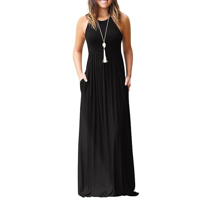 3aeb45c0f Rojeam Mujer Vestidos Fiesta Largos Elegantes Tallas Grandes Vestidos Casual  Playa Falda  Amazon.es  Ropa y accesorios