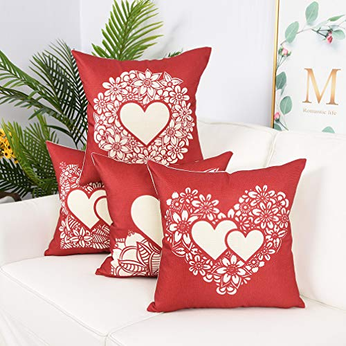 Decorative Cushion Design - YINNAZI Fashion Geometric Pattern Throw Pillow Covers Square Decorative Cushion Case for Sofa Red Printing Pillowcase, 18x 18 Inch, Set of 4, Many Color (red)