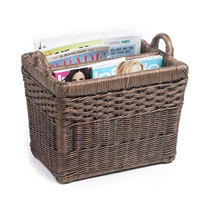 The Basket Lady Rectangular Wicker Divided Magazine Basket, One Size, Antique Walnut Brown