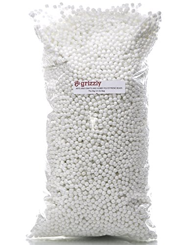 Grizzly Polystyrene Beads for Arts, Crafts, Hobbies and Sewing. The Big 3.5 Oz Bag for Stuffed Animals, Dolls, Pillows, Pet Beds, Crafts, Christmas,Halloween Decorations, Draft Door. Window Stoppers.]()