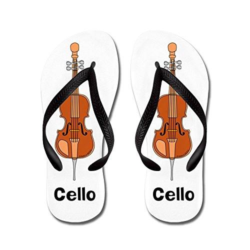 Cafepress Cello - Flip-flops, Grappige Leren Sandalen, Strand Sandalen Zwart