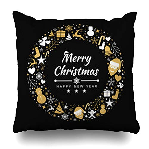 InterestDecor Throw Pillow Covers Pillowcase Holiday Green Angel Merry Christmas Holidays Abstract Red Bell Berry Border Bow Candy Winter Zippered Square Size 16 x 16 Inches Cushion Case ()