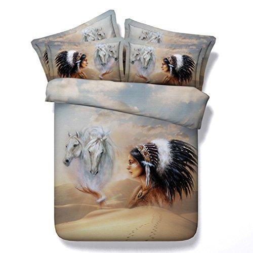 Indian Desert Style Comforter Quilt Bedding Set 3D Printed Classic Feather Duvet Cover Kids/Adult Bed Linen Sheet ,Full/Queen Size/4pcs