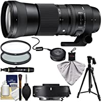 Sigma 150-600mm f/5.0-6.3 Contemporary DG OS HSM Lens & 1.4x Teleconverter with USB Dock + Pistol Grip Tripod + 2 Filters + Kit for Nikon DSLR Cameras