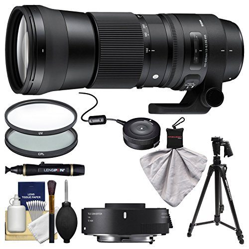Sigma 150-600mm f/5.0-6.3 Contemporary DG OS HSM Lens & 1.4x Teleconverter with USB Dock + Pistol Grip Tripod + 2 Filters + Kit for Nikon DSLR Cameras by Sigma