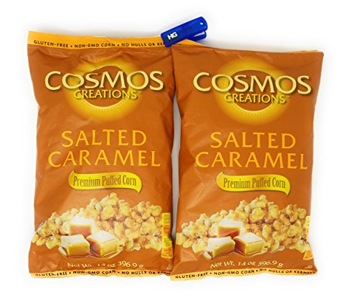 Cosmos Creations Premium Puffed Corn 2 Pack, Gluten Free, Non GMO Snack, Bonus One HG Grocery Bag Clip (Colors Vary) (Salted Caramel, 14 Ounce) ()
