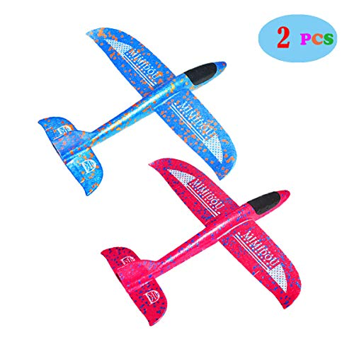MIMIDOU New Aerobatic Airplane 2 Flight Mode 2 Pack Glider Plane Throwing Foam Aircraft Outdoor Sports Flying Toy for Kids as -