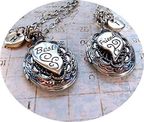 Best Friends Half-Heart Filigree Locket Necklaces - set of 2 - hand-crafted with Love ()