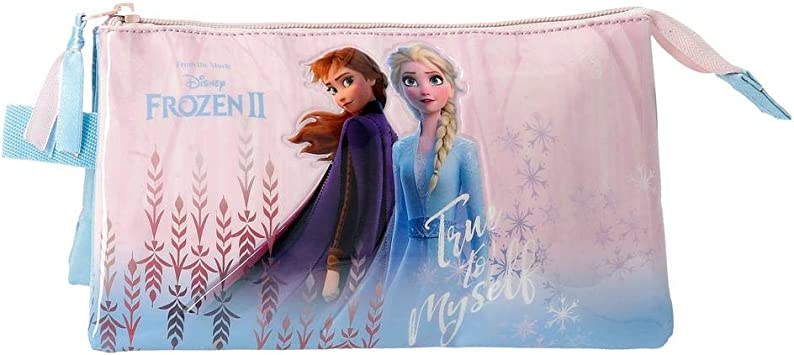 Disney Estuche Frozen True To Myself con Tres Compartimentos, Azul: Amazon.es: Equipaje
