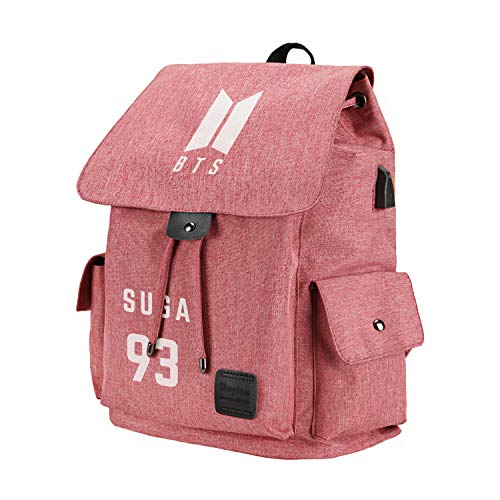 Fanstown kpop BTS Bangtan Boys Backpack Canvas Bag Casual Bag big volume with pin button and lomo card